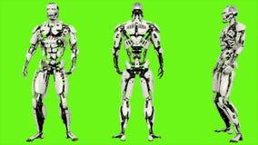 L'androide del robot è sconfigguto Moto avvolto realistico sul fondo di schermo verde rappresentazione 3d royalty illustrazione gratis