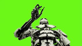 L'androide del robot è stampe il bottone Moto avvolto realistico sul fondo di schermo verde rappresentazione 3d royalty illustrazione gratis