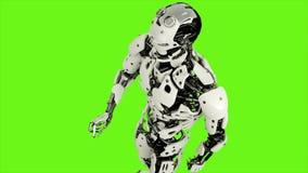 L'androide del robot è stampe il bottone Moto avvolto realistico sul fondo di schermo verde rappresentazione 3d illustrazione di stock