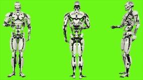 L'androide del robot è stampe il bottone Moto avvolto realistico sul fondo di schermo verde rappresentazione 3d illustrazione vettoriale