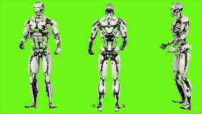 L'androide del robot è ubriaco gira al minimo Moto avvolto realistico sul fondo di schermo verde rappresentazione 3d illustrazione vettoriale
