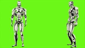 L'androide del robot esamina la distanza Moto realistico sullo schermo verde rappresentazione 3d royalty illustrazione gratis