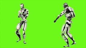 L'androide del robot lancia una palla di energia Moto realistico sullo schermo verde rappresentazione 3d illustrazione di stock