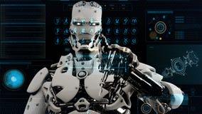 L'androide del robot preme i tasti sullo schermo di fantascienza Fondo realistico di moto rappresentazione 3d illustrazione di stock