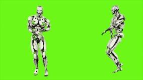 L'androide del robot sta ballando il hip-hop Moto avvolto realistico sul fondo di schermo verde rappresentazione 3d illustrazione di stock