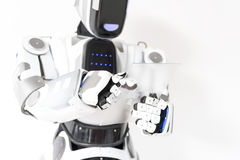 L'androide positivo sta funzionando con la concentrazione Immagine Stock