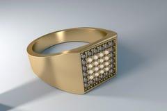 L'anello degli uomini dell'oro con i diamanti Fotografia Stock Libera da Diritti