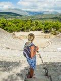 L'anfiteatro Epidaurus fotografie stock libere da diritti