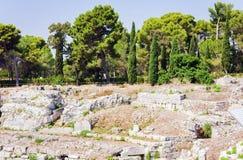 L'anfiteatro romano rovine del †di Siracusa «in parco archeologico, Sicilia, Italia fotografia stock libera da diritti