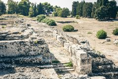 L'anfiteatro romano rovine del †di Siracusa «in parco archeologico, Sicilia, Italia fotografie stock