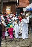 L'ange de hiver-festival dans la ville de province Images stock