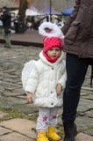 L'ange de hiver-festival dans la ville de province Photographie stock