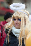 L'ange de hiver-festival dans la ville de province Image stock