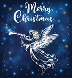 L'ange de Noël souffle dans la trompette illustration de vecteur
