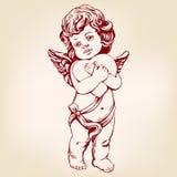 L'ange ou le cupidon, petit bébé tient un coeur, jour de valentines, amour, illustration tirée par la main de vecteur de carte de illustration de vecteur