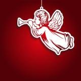 L'ange pilote et joue la trompette, décoration, le jouet, symbole religieux d'illustration tirée par la main de vecteur de christ illustration de vecteur