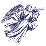 L'ange pilote et joue la trompette, symbole religieux de croquis tiré par la main d'illustration de vecteur de christianisme illustration stock