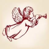 L'ange pilote et joue la trompette, symbole religieux de croquis tiré par la main d'illustration de vecteur de christianisme illustration de vecteur