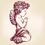L'ange prie sur son symbole religieux de genoux d'illustration tirée par la main de vecteur de christianisme illustration stock
