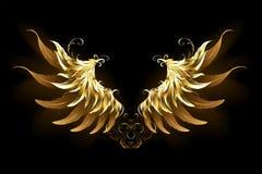 L'angelo brillante traversa le ali volando dorate illustrazione di stock