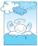 L'angelo del bambino si appoggia a su una nube Immagini Stock