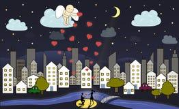 L'angelo del fumetto dà l'amore da cielo Immagini Stock Libere da Diritti