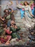 L'angelo del signore hanno visitato i pastori e informato loro della nascita del ` di Gesù fotografia stock libera da diritti