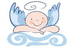 L'angelo divertente del bambino si appoggia a su una colonna Immagine Stock