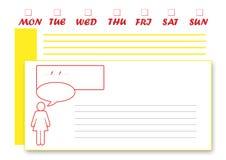 L'anglais du planificateur de la semaine générale Images libres de droits