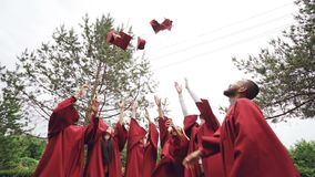 L'angle faible a tiré des étudiants de graduation joyeux d'hommes et de femmes jetant des mortier-conseils dans le ciel et rire B banque de vidéos