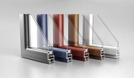L'angle réaliste a découpé la fenêtre en aluminium moderne H de maison en métal de PVC photo stock