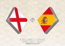 L'Angleterre contre l'Espagne, ligue A, groupe 4 Concurrence du football de l'Europe illustration de vecteur