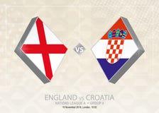 L'Angleterre contre la Croatie, ligue A, groupe 4 Competiti du football de l'Europe illustration libre de droits