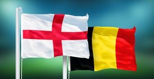 L'Angleterre - la Belgique, 3ème match d'endroit de coupe du monde du football, Russie 2018 drapeaux nationaux photos libres de droits