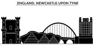 L'Angleterre, Newcastle sur l'horizon de ville de vecteur d'architecture de Tyne, paysage urbain de voyage avec des points de rep Photo libre de droits