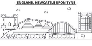 L'Angleterre, Newcastle sur la ligne illustration d'architecture de Tyne d'horizon Paysage urbain linéaire de vecteur avec les po Images libres de droits
