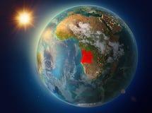 L'Angola avec le coucher du soleil sur terre illustration de vecteur