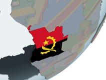L'Angola avec le drapeau sur le globe illustration libre de droits