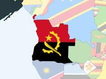 L'Angola avec le drapeau sur le globe illustration stock