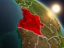L'Angola da spazio durante l'alba Fotografia Stock