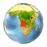L'Angola en rouge sur la pleine terre Photographie stock