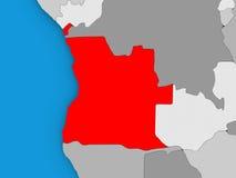 L'Angola en rouge sur le globe Photos libres de droits