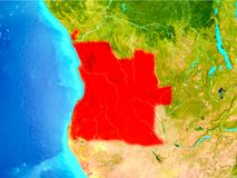 L'Angola en rouge sur terre Photo stock