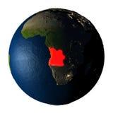 L'Angola en rouge sur terre d'isolement sur le blanc Photo libre de droits