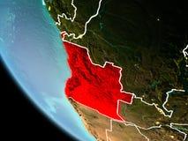 L'Angola la nuit sur terre illustration stock