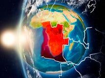 L'Angola pendant le coucher du soleil sur terre illustration stock