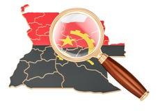 L'Angola sous la loupe, concept d'analyse, rendu 3D Illustration Stock