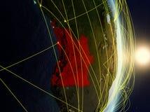 L'Angola su pianeta Terra di reti fotografia stock libera da diritti