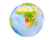 L'Angola sul globo isolato Immagine Stock