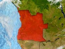 L'Angola sur la carte avec des nuages Images libres de droits